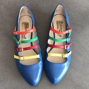 Modcloth rainbow leather buckle ballerina